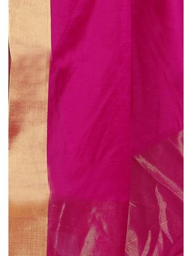 Zoom Fabrics Plain Cotton Silk Pink Saree -Zm4018C