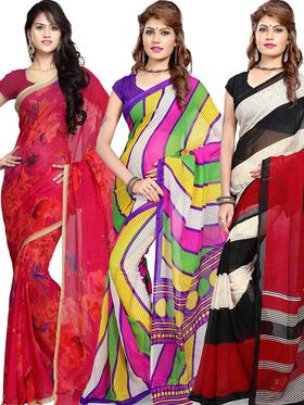 Combo of 3  Georgette Printed Saree -100-120