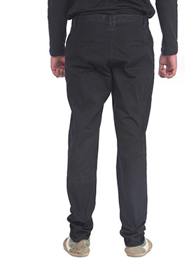 imFab Plain Cotton Chinos for Men -Black