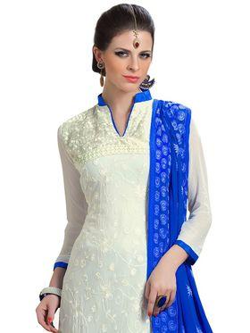 Khushali Fashion Chiffonto Embroidered Dress Material - Off White - HSL1606