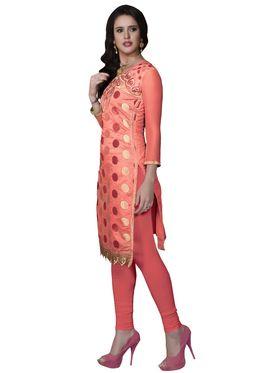 Khushali Fashion Cotton Embroidered Dress Material - Peach - PARI41007