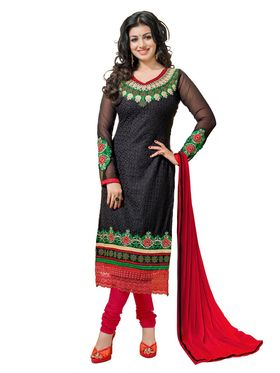 Khushali Fashion Georgette Embroidered Dress Material - Black - tarzen04