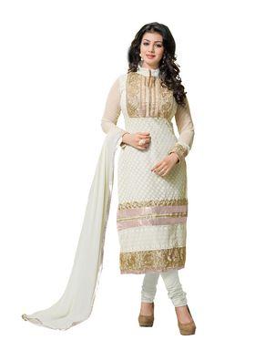 Khushali Fashion Georgette Embroidered Dress Material - White - tarzen06