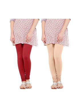 Pack of 2 Oh Fish Solid Cotton Stretchable Leggings -zwe57