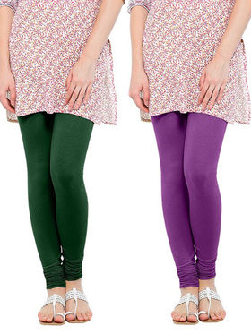 Pack of 2 Oh Fish Solid Cotton Stretchable Leggings -zwe34