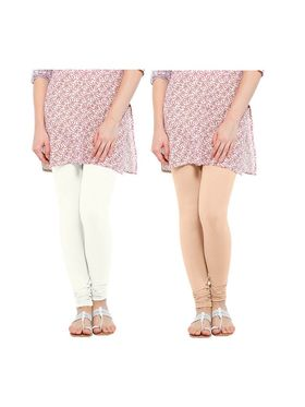 Pack of 2 Oh Fish Solid Cotton Stretchable Leggings -zwe51