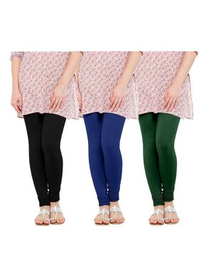 Pack of 3 Oh Fish Solid Cotton Stretchable Leggings -zwe68