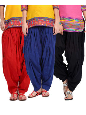 Combo of 3 Javuli Plain Pure Cotton Semi Patiala Salwar-ja26