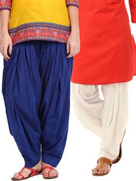 Combo of 2 Javuli Plain Pure Cotton Semi Patiala Salwar-ja71
