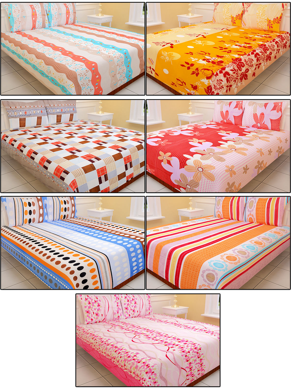 Buy royal home pack of 7 designer bedsheets 7bs1 online for Bed sheet design images