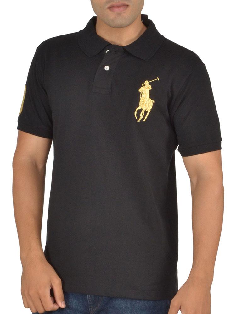 Buy ralph lauren plain polo neck half sleeves t shirt for for Half sleeve t shirts for men