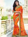 Indian Women Bandhej Georgette Orange Designer Saree -Ic11316