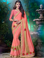 Indian Women Embroidered Georgette Pink Designer Saree -MG12305