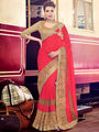 Indian Women Embroidered Red Marble Chiffon Saree -MG12419
