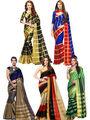 Pack of 5 Bhuwal Fashion Plain Tussar Silk Multicolor Saree -Combo262