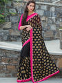 Viva N Diva Printed Georgette Black Saree -19475-Kayaa