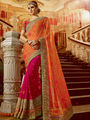 Viva N Diva Embroidered Georgette Orange & Pink Saree -19481-Rukmini-04