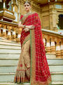 Viva N Diva Embroidered Georgette Red & Beige Saree -19482-Rukmini-04