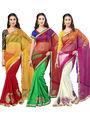 Pack of 3 Admyrin Printed Georgette Net & Bhagalpuri Silk Saree -CMB2