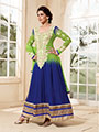 Adah Fashions Embroidered Georgette Semi-Stitched Anarkali Suit - Green & Blue