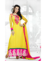 Adah Fashions Embroidered Georgette Semi-Stitched Anarkali Suit - Yellow - 449-5014