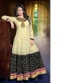 Adah Fashions Georgette Embroidered Semi Stitched Dress Material - Beige & Black