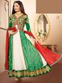 Adah Fashions Pure Georgette Embroidered Semi Stitched Dress Material - Green & White