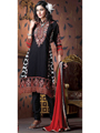 Adah Fashions Embroidered Georgette Unstitched Dress Material - Black & Red