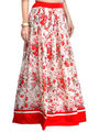 Admyrin Georgette Printed Skirt - Cream and Red - AY-SKI-RG6-595