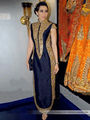 Arisha Silk Embroidered Semi-Stitched Anarkali Suit - Navy Blue