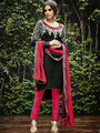 Arisha Enterprises Pure Cotton Embroidered Dress Material - Black - ARA405