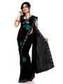 Designer Sareez Embroidered Faux Georgette Saree - Black-564
