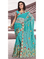 Designer Sareez Embroidered Net Saree - Teal