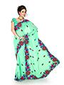 Embroidered Chiffon Saree - Light Green
