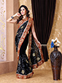 Embroidered Chiffon Saree - Black-1305