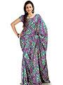 Designer Sareez Printed Khadi Silk Saree - Purple & Teal