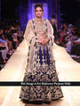 Ethnic Trend Net-Velvet  Embroidered Lehenga - Navy Blue - 398