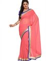 Florence Plain Chiffon Saree - Pink-FL-5001-J