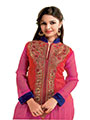 Ishin Embroidered Georgette Anarkali Kurti -Pink