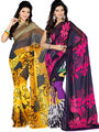 Pack of 2 Ishin Georgette Printed Saree - Combo-408