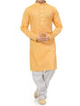 Ishin Cotton Plain Kurta Pajama For Men_indsh-106 - Yellow