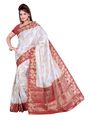 Ishin Poly Silk Printed Saree - White & Red