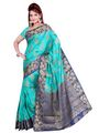 Ishin Poly Silk Printed Saree - Green & Blue