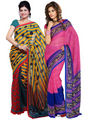Combo of 2 Ishin Georgette Printed Saree - Combo-393