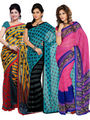 Combo of 3 Ishin Georgette Printed Saree - Combo-394