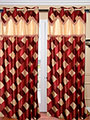 Set of 2 JBG Fancy Lace Check design Door Curtains - Maroon & Cream- JBG429