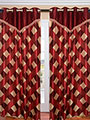 Set of 2 JBG Fancy Lace Check design Door Curtains - Maroon & Cream- JBG422