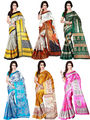 Pack of 6 Shonaya Printed Taffeta Saree -oct06