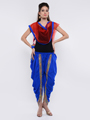 Lavennder Plain Crape Dhoti with Nett Dupatta - Royal Blue