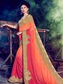 Indian Women Embellished Chiffon Orange & Red Designer Saree -Mg12517